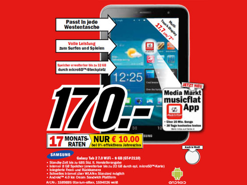 Samsung Galaxy Tab 2 (7.0) 8GB WiFi silber ©Media Markt
