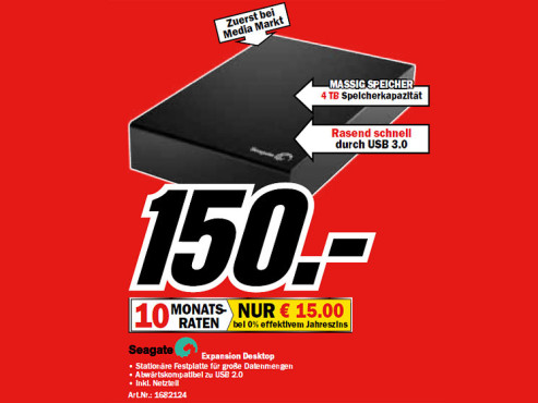Seagate Expansion Desktop Drive 4 TB ©Media Markt