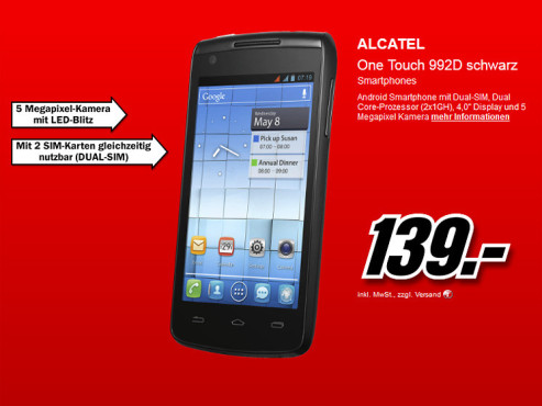 Alcatel One Touch 992D Orange © Media Markt