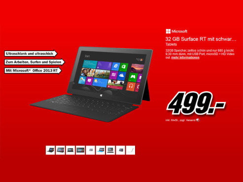 Microsoft Surface RT 32GB + TouchCover © Media Markt