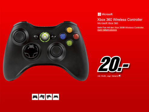 Microsoft Xbox 360 Wireless Controller (schwarz) © Media Markt