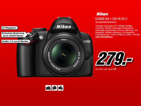 Nikon D3000 Kit 18-55 mm © Media Markt