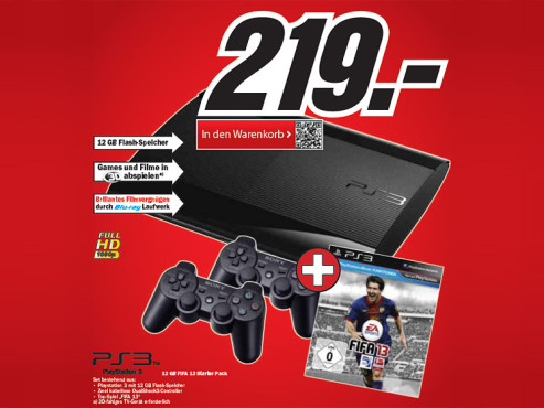 Sony Playstation 3 (PS3) Super slim 12GB + FIFA 13 © Media Markt