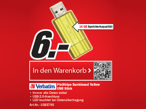 Verbatim Pin Stripe USB 2.0 Stick 16GB (Gelb) © Media Markt