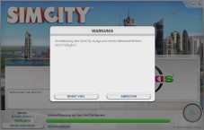 Sim City: Fehlermeldung ©Electronic Arts