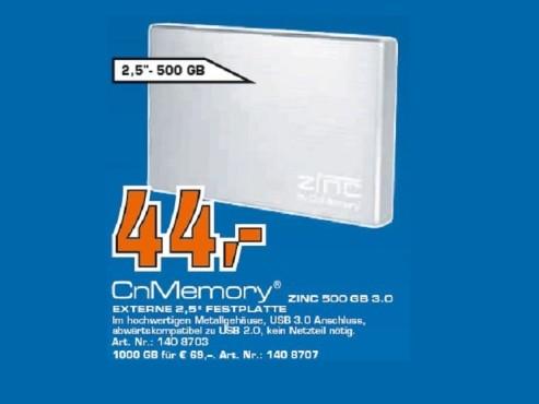 "CNMEMORY 2,5""-500GB USB 3.0 Zinc Silver ©Saturn"