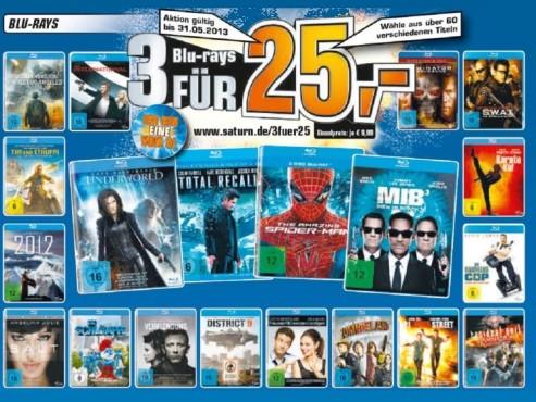 Drei Blue-Rays für 25 Euro. ©Saturn