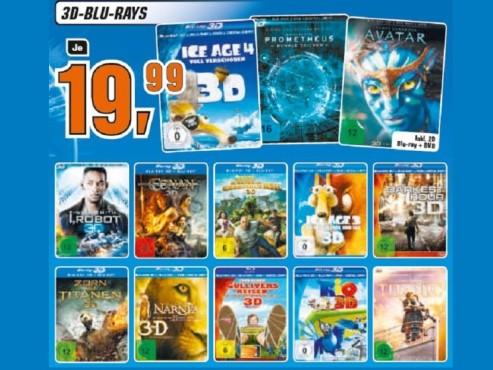 Verschiedene 3D-Blu-Rays ©Saturn