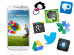 Galaxy S4 + Apps&nbsp;&copy;&nbsp;Samsung, Adobes Systems, Twitter Inc., Google Inc., Pulse, Snapseed, Barcoo, Evernote