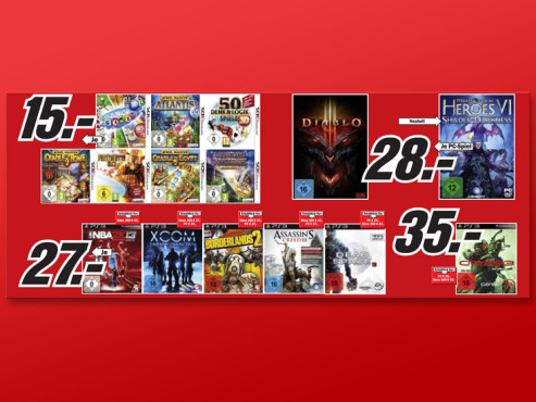 Videospiele f�r Nintendo 3DS, Sony PS3, Xbox 360, PC © Media Markt