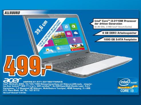 Acer Aspire E1-571-33118G1TMNKS ©Saturn