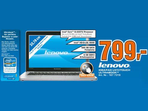 Lenovo IdeaPad U310 Touch © Saturn