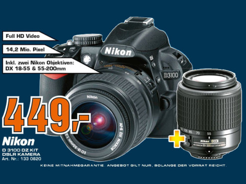 Nikon D3100 Kit 18-55 mm + 55-300 mm © Saturn