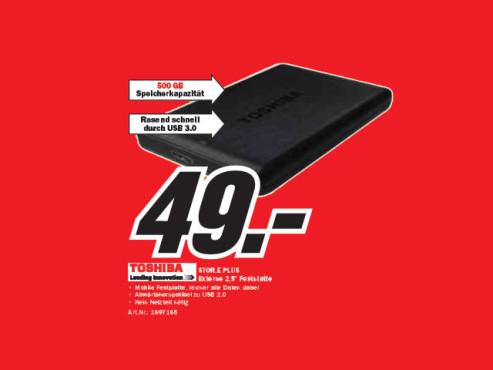 Toshiba Stor.E Plus 500GB ©Media Markt