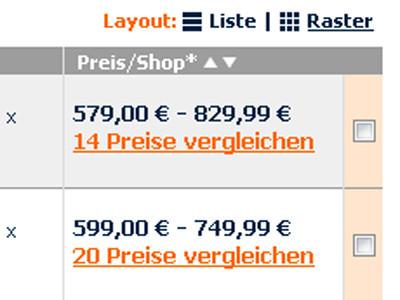 Per Haken lassen sich Produkte zum Vergleich wählen. ©COMPUTER BILD