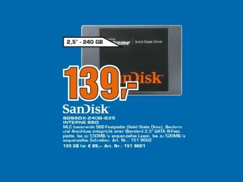 Sandisk Extreme 240GB SSD ©Saturn
