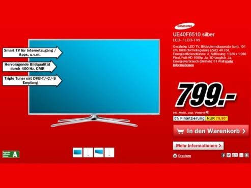 Samsung UE40F6510 ©Media Markt