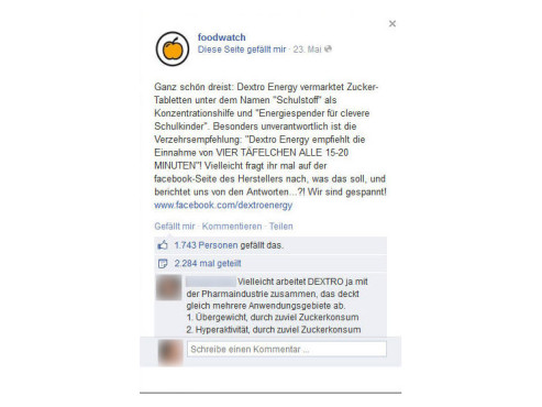 Foodwatch-Posting zu Dextro Energy © COMPUTER BILD
