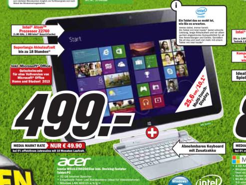 Acer Iconia Tab W510 (NT.L0MEG.005) ©Media Markt