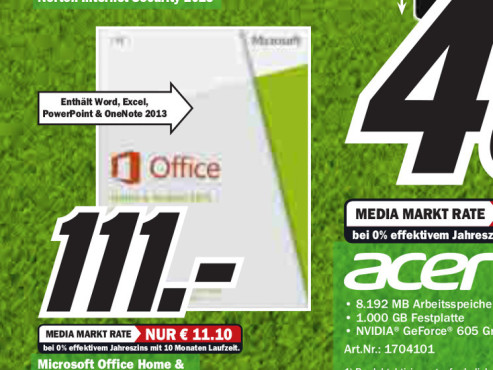 Microsoft Office 2013 Home and Student (DE) © Media Markt