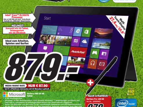 Microsoft Surface Pro 64GB © Media Markt