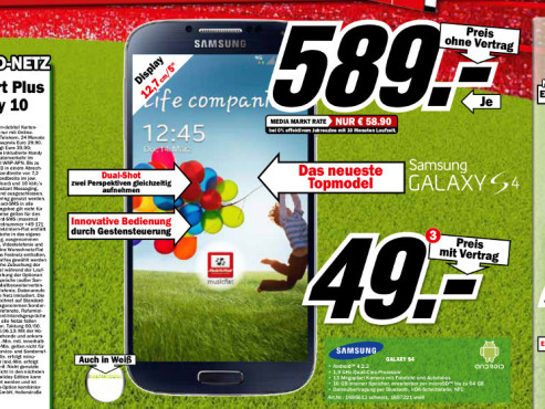 Samsung Galaxy S4 16GB © Media Markt