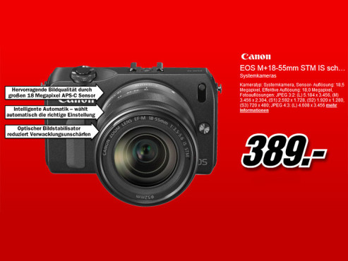 Canon EOS M Kit 18-55 mm © Media Markt