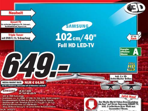 Samsung UE40F6500 ©Media Markt