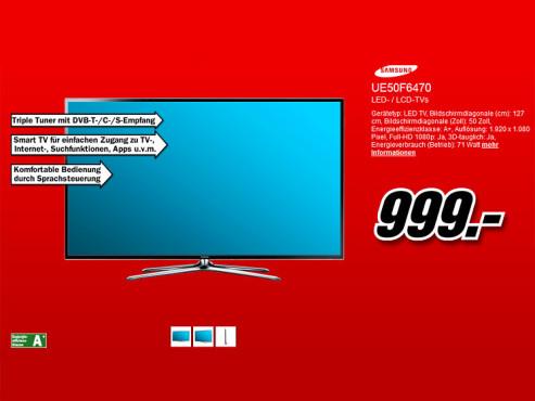 Samsung UE50F6470 ©Media Markt