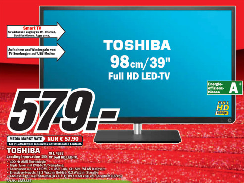Toshiba 39L4363DG ©Media Markt