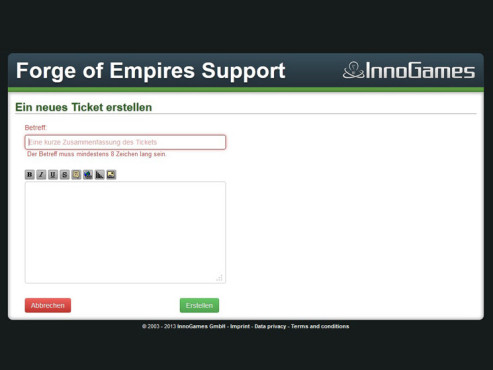 Forge of Empires: Kundensupport Ticket erstellen © InnoGames