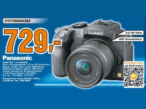 Panasonic Lumix DMC-G6 Kit 14-42 mm schwarz (DMC-G6K-K) © Saturn
