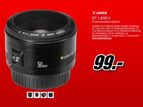 Canon EF 50mm f1.8 II ©Media Markt