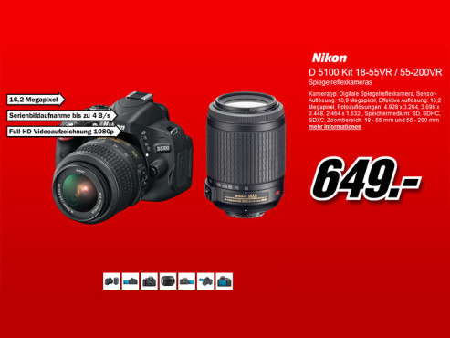 Nikon D5100 Kit 18-55 mm + 55-200 mm [Nikon] © Media Markt