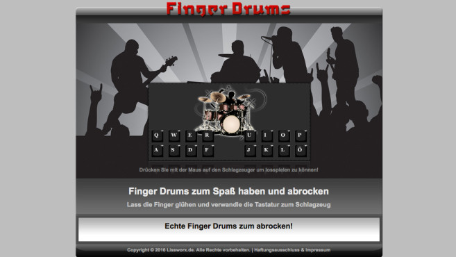 Finger Drums © LISSWORX Inh. Matthäus Liß – Screenshot