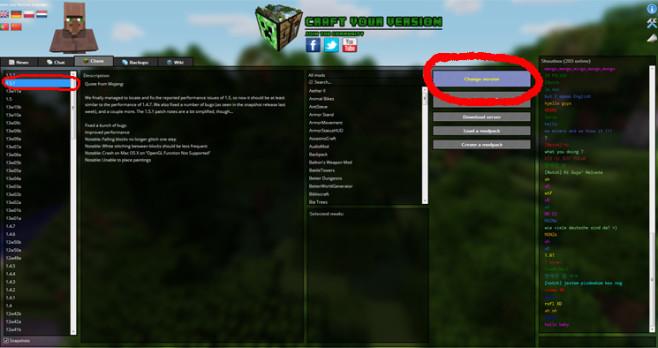 Minecraft Version Changer: Schritt 2 ©Craften Team