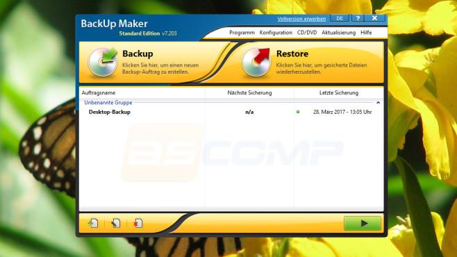 Dateien sichern: BackUp Maker ©COMPUTER BILD