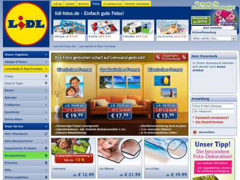Screenshot www.lidl-fotoservice.de ©Lidl