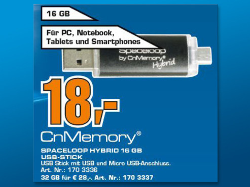 CnMemory 16GB Spaceloop Hybrid USB 2.0 + Micro USB Stick © Saturn
