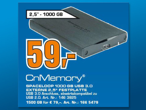 CnMemory 63055 1TB HDD Spaceloop USB 3.0 © Saturn