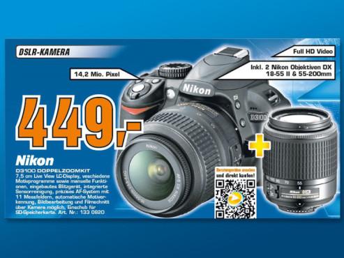Nikon D3100 Kit 18-55 mm + 55-200 mm [Nikon G ED II + Nikon G ED] ©Saturn
