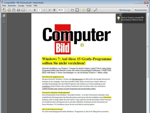 Adobe Reader ©COMPUTER BILD