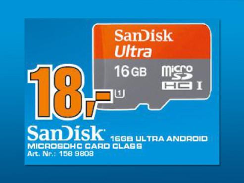 Sandisk Mobile Ultra microSDHC 16GB Class 10 UHS-I (SDSDQU-016G) ©Saturn