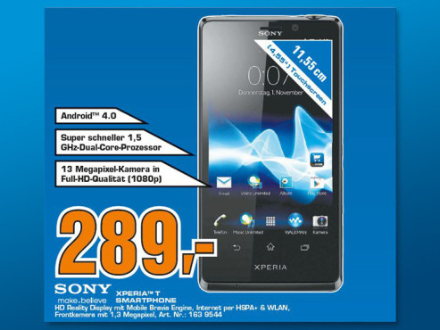 Sony Xperia T ©Saturn
