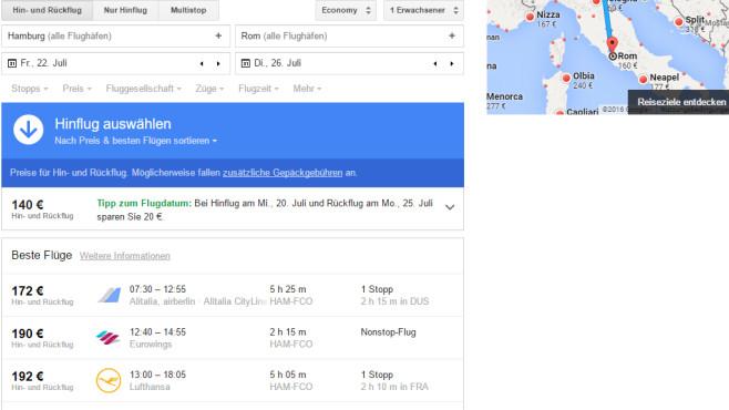 Google Flights: Preiswerte Flüge entdecken ©COMPUTER BILD