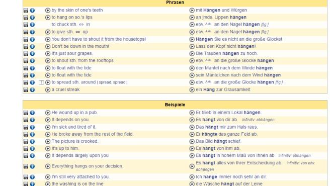 LEO-Wörterbuch: Wortlisten zum Verständigen anzeigen ©COMPUTER BILD