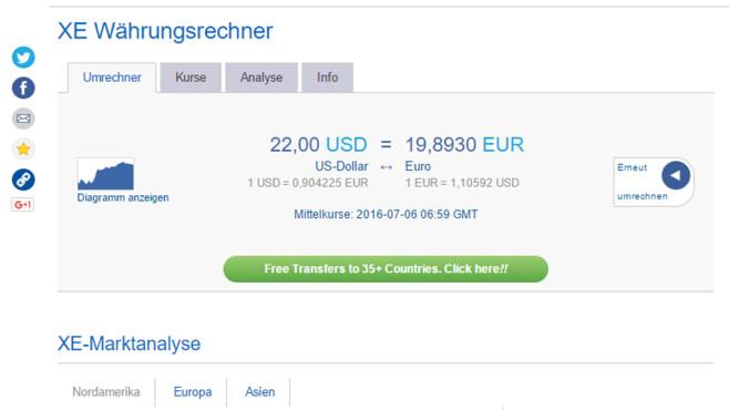 XE Currency Converter (Währungen umrechnen): Kosten überblicken ©COMPUTER BILD
