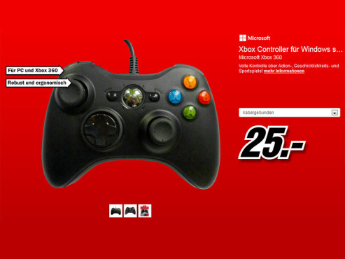 Microsoft XBox 360 Controller (Windows) © Media Markt