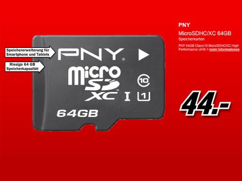PNY microSDXC High Performance 64GB Class 10 UHS-I (SDU64G10HIGPER-EF) ©Media Markt