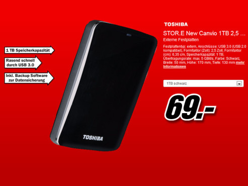 Toshiba StorE Canvio 1TB schwarz (HDTC710EK3AA) ©Media Markt